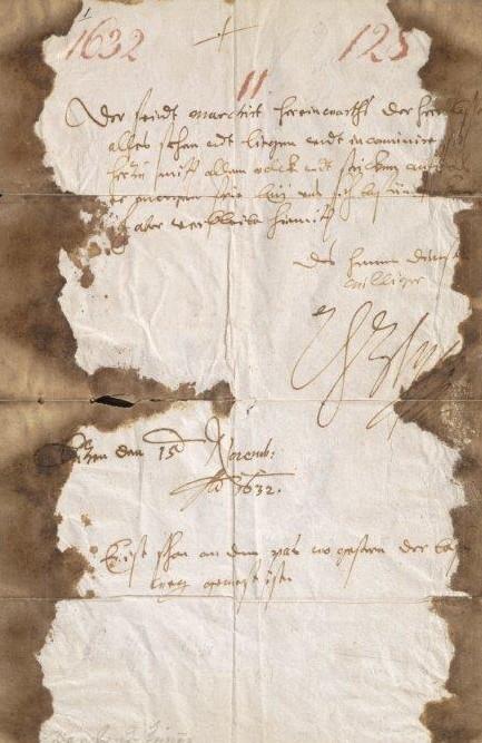 Brief von 1632, an den Rändern sehr vergilbt.