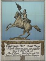 Plakat der Erzherzog Karl-Ausstellung mit einer skizzierten Statue eines reitenden Soldaten am Pferd und erhobener Flagge