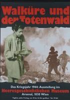 """Ausstellungsplakat zu """"Walküre und der Totenwald"""" mit einer Frau im Kittel mit einem Teller in der Hand, im Hintergrund zwei Soldaten auf Gebäudetrümmern."""