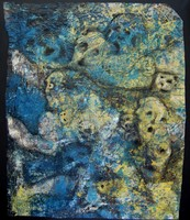 Gemälde, in dem Gesichter und Totenköpfe zu erkennen sind.