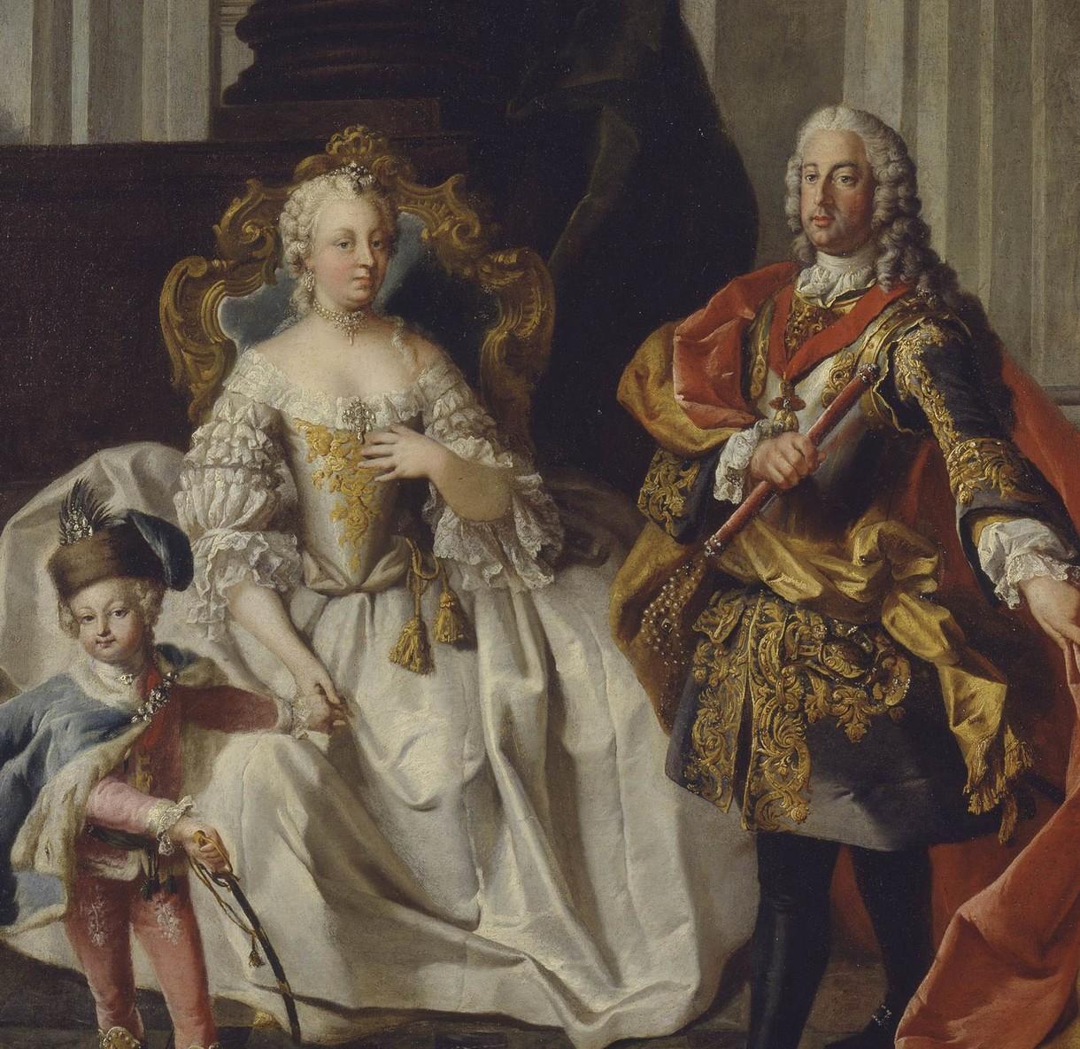 Gemälde von Maria Theresia neben ihrem Mann und mit ihrem Kind an der Hand.