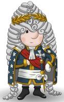 Maskottchen Eugen mit goldenem Lorbeerkranz und in Uniform.