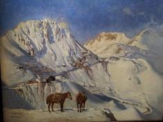 Gemälde mit zwei Pferden  in winterlicher Gebirgslandschaft.