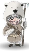 Maskottchen Eugen in Eisbärenfell mit Eisbärenkopf als Mütze.