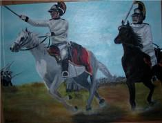 Gemälde mit zwei französischen Soldaten am Pferd, der linke hat den Säbel zum Angriff erhoben.
