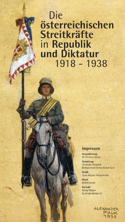 """Buch """"Die österreichischen Streitkräfte in Republik und Diktatur 1918-1938"""" mit Soldat in Uniform auf einem Pferd und einer Fahne mit österreichischem Wappen in der rechten Hand."""