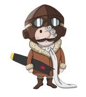 Maskottchen Eugen als Pilot mit zerbrochenem Propeller in der Hand und Fliegerbrille.