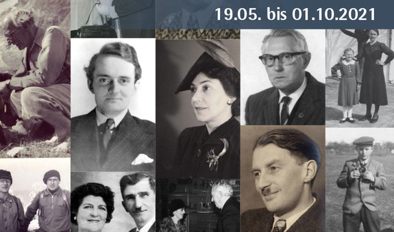 verschiedene Schwarz-Weiß-Fotos von Männern und Frauen, die während des Naziregimes jüdischen Mitbürger/innen ohne Gegenleistung geholfen haben zu überleben oder auszuwandern.