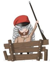 Maskottchen Eugen hinter einem Zaun mit erhobenem Gewehr.