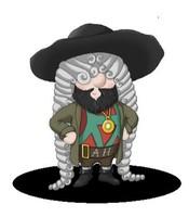 Maskottchen Eugen mit Vollbart und Hut mit breiter Krempe.