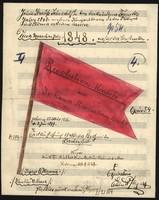 Noten des Revolutionsmarschs von Johann Strauss, übermalt mit einer roten Fahne.