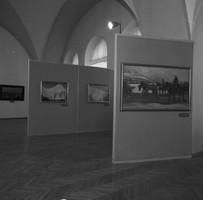 Hintereinander aufgestellte Schauwände mit Gemälden.