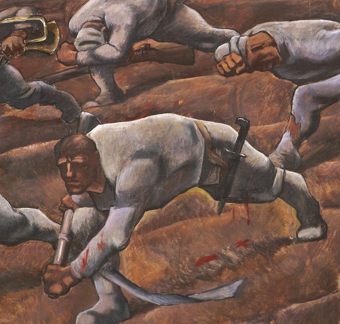 Detail aus einem Gemälde, geduckte und verletzte Soldaten gehen über ein Feld.