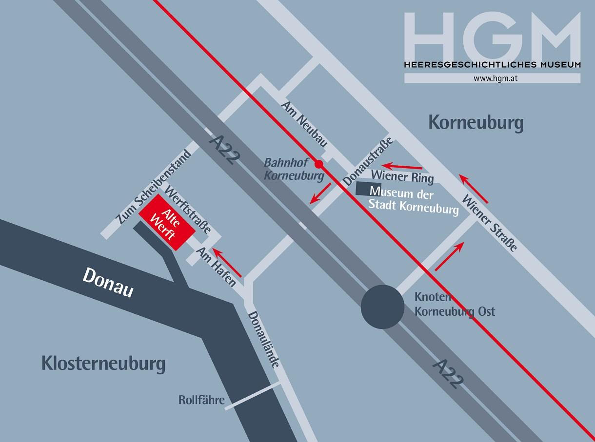Anfahrtsplan zum Hafen Korneuburg.