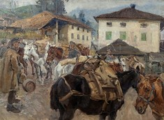 Gemälde zeigt gesattelte Pferde in einem Dorf.