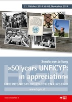 """Ausstellungsplakat """"50 Years UNFICYP: in appreciation"""" mit Fotocollage."""