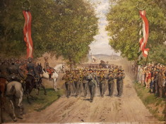 Gemälde einer Militärparade auf einer Feldstraße.