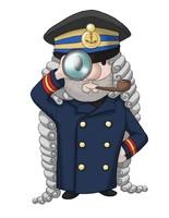 Maskottchen Eugen als Kapitän mit Fernrohr.