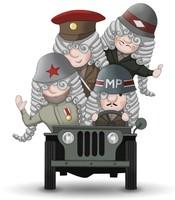 Vier Maskottchen Eugen in verschiedenen Uniformen in einem Jeep.