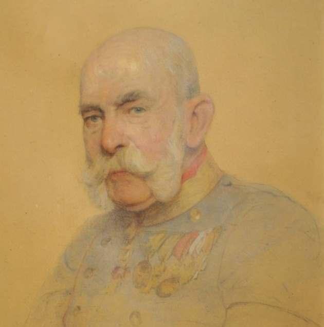 Vergilbte Zeichnung des alten Kaisers Franz Joseph.