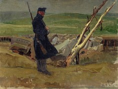 Gemälde zeigt Soldaten mit umgehängtem Gewehr, auf einem Feld stehend, im Hintergrund ein umgestürzter kahler Baum.
