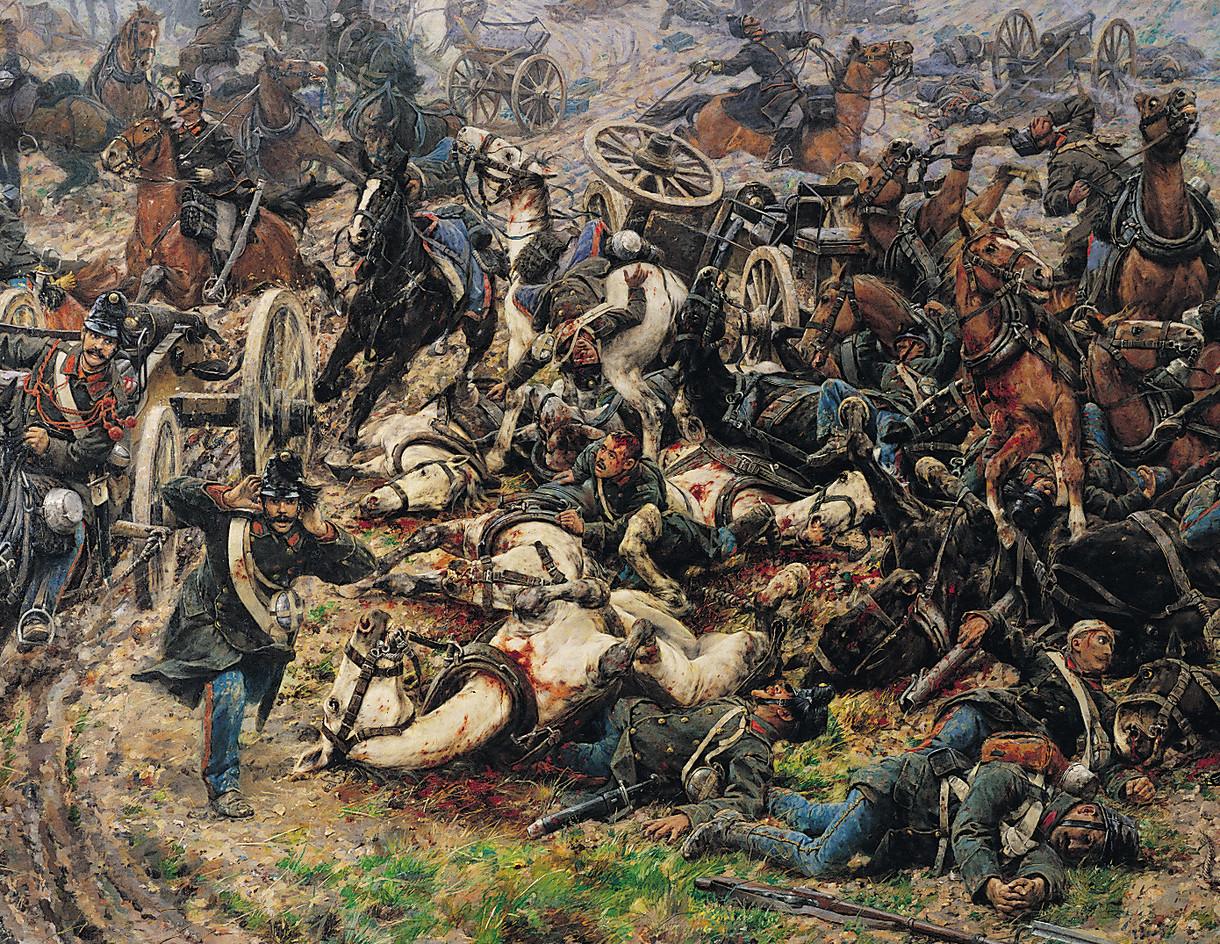 Gemälde eines Schlachtfelds mit blutenden Pferden und verletzten Soldaten.