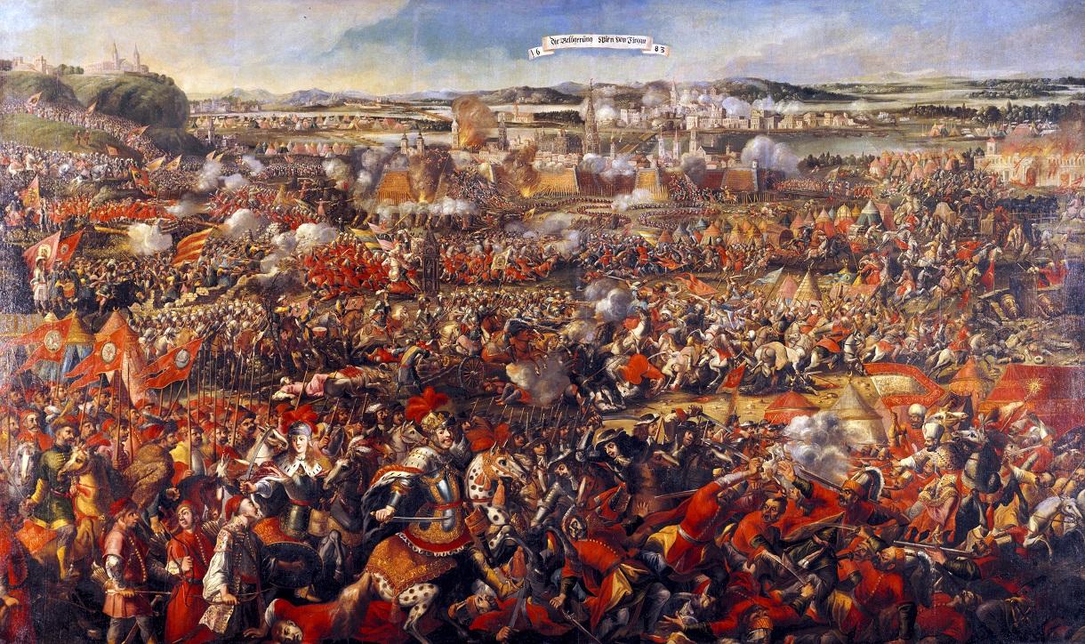 Gemälde der Belagerung mit einer großen Menge Soldaten, zum Teil auf Pferden, zum Teil bereits gefallen.