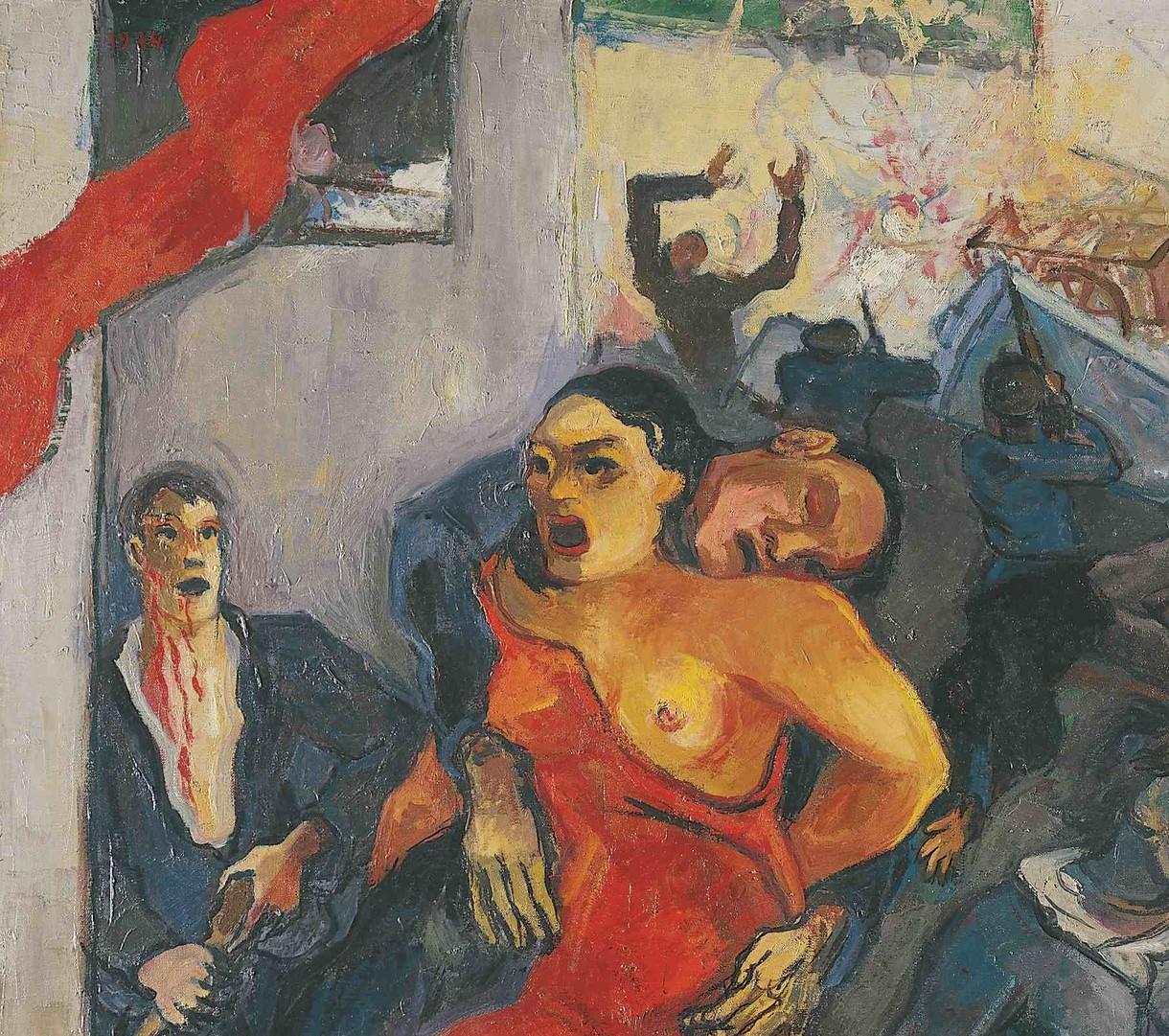 Gemälde, das flüchtende und verletzte Menschen zeigt.