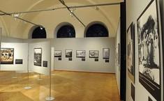 Ausstellungsraum mit Schauwänden, auf denen Fotografien hängen.