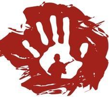 Gemälde mit einem Handabdruck in einem Farbklecks, der Blut darstellen soll. In der Handfläche die Silhouette eines bewaffneten Soldaten.